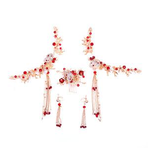 Frauen Rot Strass Klassische Wunderschöne Chinesischen Klassischen Stil Quaste Ohrringe Haar Kamm Braut Haarschmuck LB