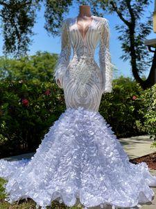 Superbe New Designer Paillettes sirène Robes de bal col en V à manches longues élégantes Robes de soirée Feuilles 3D avec cocktail de plumes Robe