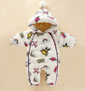2019 New Baby rompers Overalls Clothes Winter Boy Girl Garment Thicken Warm Pure Cotton Outerwear coat jacket kids Snow Wear V191128
