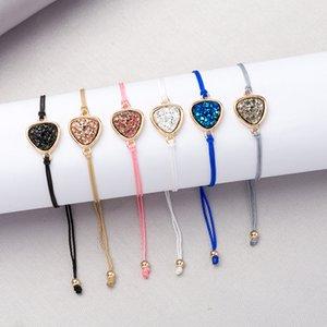 Mode 6Colors Harz Druzy Armband Dreieck Unregelmäßig imitieren Naturstein Kordelzug auffällige Armband Armreif für Frauen Schmuck