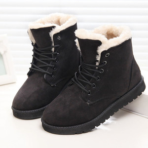 Klasik Kadınlar Kış Boots Süet Bilek Kar Boots Kadın Sıcak Kürk Peluş Taban Yüksek Kalite Botaş Mujer Artı boyutu Kış Ayakkabı