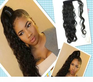 L Wavy Ponytail Hairpiece Clip In Human Wrap Around Curly Drawstring Poytail Hair Extension 120g 4 Colors Free Ship