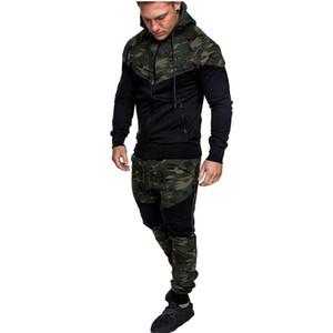 Survêtement pour hommes Camouflage Sportswear Sweat à capuche Veste + Pantalon Costume Sport Homme Chandal Hombre Survêtement