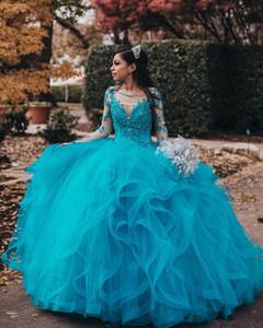 Azul rendas frisado Sexy Dresses Prom Quinceanera Sheer Long Neck mangas Tulle Evening partido do doce 16 Vestido