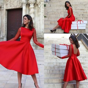 Kırmızı SatinTea Boyu Kokteyl Elbise 2020 Şık Şeffaf Uzun Kollu Backless Kadınlar Örgün Parti Abiye Kısa Bir Çizgi Abiye BA4852