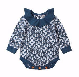 Bebek Çocuk Kız Erkek Ruffles Yaka romper Örme yelpaze şeklindeki Baskı Uzun Kollu Romper bebek giyim romper giysi