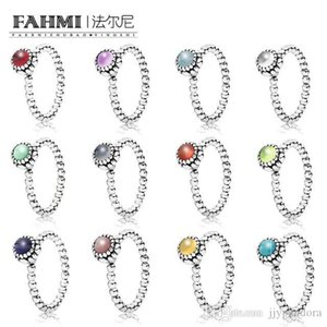 HYWo 100% 925 Sterling Silver New December Birthstone Ring Turquoise Pink Peridot Grey Gernet Citrine Multi-Color Choice