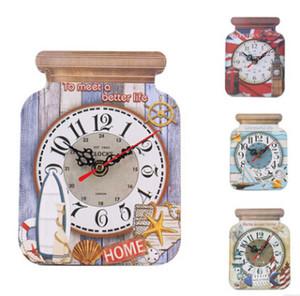 Vintage Wooden Wall Clock Drift Bottle Shape Wall Clocks Creative Europe Silent Desk Clock Home Living Room Decor