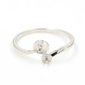 al por mayor S925 montajes de plata anillo de diseño del anillo de perlas de doble apertura regulable para el envío libre de la joyería de las mujeres de perlas bricolaje