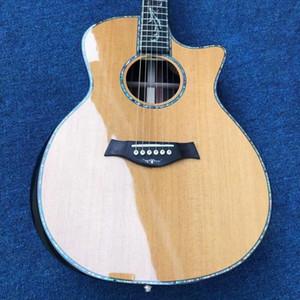 Abeto sólido de encargo de madera real abulón incrustaciones de ébano Diapasón GPS14s guitarra acústica con electrónica EQ envío