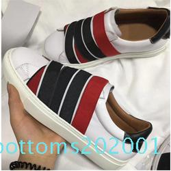 designer Casual shoes 100% leather luxury men women elastic bands webbing sneakers Soft cowhide white black lace-up Flat shoes 35-45 42 r01