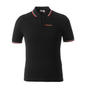 Casual POLO shirt simples dos homens Moda Todos os dias Matching listrado Cuff Classic Double Buckle Design 100% algodão respirável
