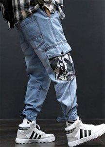 Pantaloni Mens Hiphop allentati dei jeans Light Blue di moda lungo Mens carico con tasche