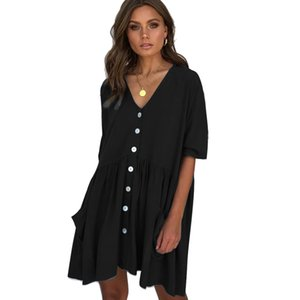 Hot Sexy Womens Dress Slim V Neck Solid Color Short Sleeve Dress with Button with 4 Colors
