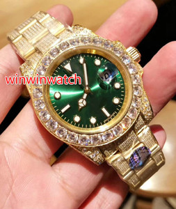 Hot Sale Full diamond Watch Sweep Smoothly Mechanical Automatic Movement 3 color Face Big diamond Bezel Luxury Mens Watches 40MM
