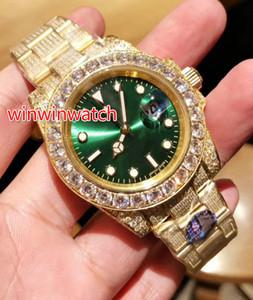 Heißer Verkaufs-Voll Diamant-Uhr-Sweep Reibungslos mechanische Automatik-Uhrwerk 3 Farbe Gesicht Big Diamant Lünette Luxus Herrenuhr 40MM