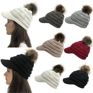 2019 explosion models knitted wool ball wool hat checkered ponytail brim knit hat SQ264