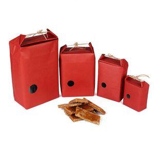 Kırmızı Kraft kağıt pirinç ambalaj torbası Çay paketleme karton kağıt torba / düğün kraft torba Gıda Saklama Daimi Çantası LX0832 Ambalaj