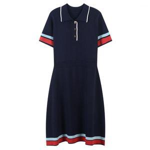Temperament Female Clothing Striped Casual New Womens Apparel Womens Lapel Neck Knitting Dress Summer Short Sleeve