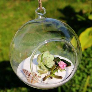 Suspensão da flor de vidro planta vaso de cristal de vidro Hanging Candle Holder bolha Candlestick Festa Casamento Casa Jantar Decor Rodada planta de ar de vidro