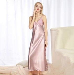 Women Ladies Fashion Satin Silk Sleepwear Sleep Shirts Nightdress Lingerie Night Long Dress Skirt High Quality Sexy New