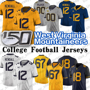 Batı Virginia Austin Kendall Mountainers Özel Jersey Sam James Leddie Brown T.J. Simmons George Campbell WVU Futbol Forması
