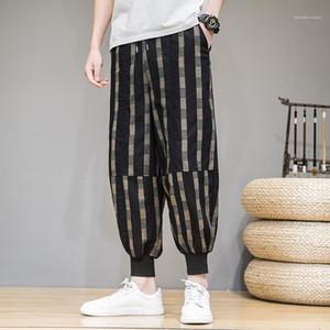 Casual Pantolon Erkek Ekose Baskılı Harem Pantolon Günlük Hip Loose Stil Moda Pants Erkek Tasarımcısı Hop