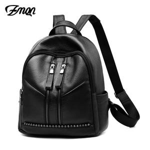 ZMQN Sırt Çantası Kadınlar Için Cusual Genç Kızlar Için 2019 Okul Çantaları PU Deri Çanta Siyah Seyahat Sırt Paketi Boncuk Kadın sırt çantaları