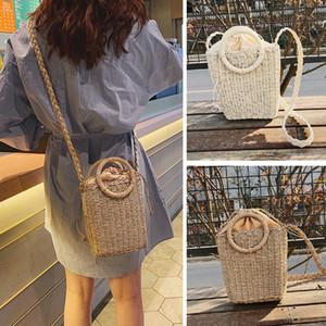Sommer-Beutel-Frauen-Rattan-Stroh-Beutel Woven-Runde Handtasche Crossbody Strandtaschen