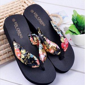 Women Shoes Sliper Summer 2020 Bohemia Floral Beach Sandals Wedge Platform Thongs Slippers Flip Flops zapatos de mujer