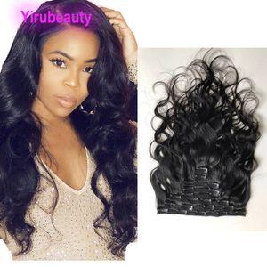 100% cabelo humano onda do corpo Clip-em extensões do cabelo da Malásia Virgin Cabelo Clip-em 120g clipes Yirubeauty Natural Color onda do corpo On