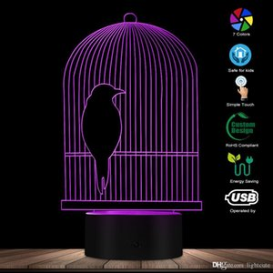 Bird Cage 3D Optical ilusão Desk Lamp LED Night Light Pássaro decorativo Hanging Rod Bird Cage Kid Quarto Night Light Table Lamp
