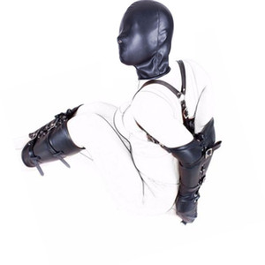 Kölelik BDSM Sınırlamalar Role Play Eller Bilekler Kol Bacak Bağlayıcı Hood Maske, PU Deri Sıkı Tek Eldiven, Yetişkin Kostümleri Seks Oyuncakları