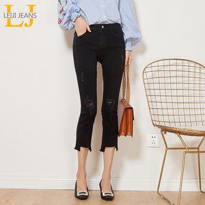 Automne LEIJIJEANS style décontracté Ripped Tassel Distreess mi taille longueur cheville Plus Size Slim Flare Noir Jeans Femme 6252