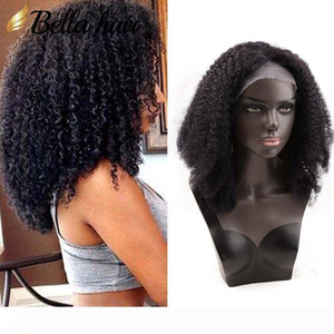 Afro Kinky Curly Front Full Lace Wig 100% Indian Human Hair Wig Natural Black Color Bella Hair Free Shipping Lace Wigs Wholesale