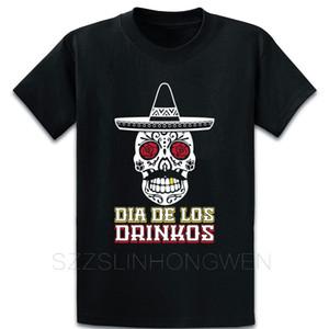 Dia De Los Drinkos Calavera Sombrero Bıyık Tişörtlü Nefes Yaz Desen Özgün Tasarım Ç Boyun Ünlü Pamuk Gömlek