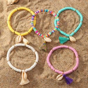 Bohemian оболочки браслет национальный стиль кисточкой браслет красочный мягкий керамика очарование кольцо Wristlet для леди девочек партия выступает FFA4143-3