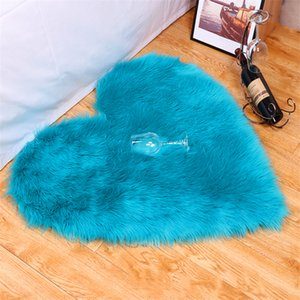 Wholesale 30 * 40cm romantic love heart-shaped creative imitation wool floor mat thick plush rug living room bedroom can be customized size
