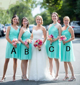 Custom Made Mint Green   Turquoise Short Knee Length Beach Bridesmaid Dresses Draped Bridesmaids Dress For Wedding Party Dress