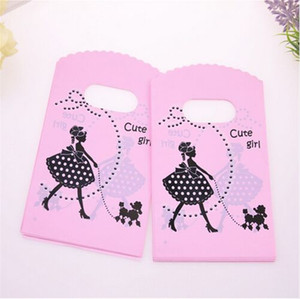 Hot Sale New Style Wholesale 500pcs lot 9*15cm Pink Mini Plastic Shopping Bags With Cute Girl Birthday Gift Packaging Bags