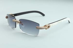 2020 neue Männer und Frauen gleiche Sonnenbrille voller Diamantgläser T3524012-27 Luxus randlos natürliche gemischte Horn Diamantrahmen