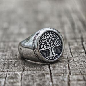 2020 Gümüş Paslanmaz Çelik Tree of Life Signet Halka Klasik Erkek Yüzük İskandinav Takı moda