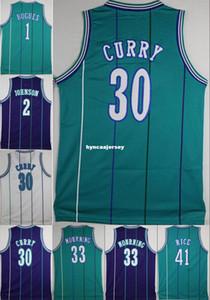 # 30 Dell SC forması 2. Larry Johnson # 33 Alonzo Mourning Mor Yeşil Mavi Beyaz Retro Basketbol Jersey Nakış Logolar gömlek NCAA