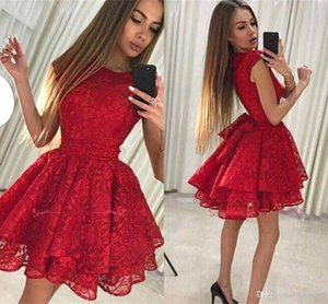 Jewel Neck Pequenas vermelho curto Vestidos Homecoming 2020 New Lace completa Cocktail Curto Formal Party Dress Vintage Curto Prom Dress BA9963