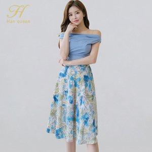 H Han Queen Summer 2 Pieces Suit Womens Slash neck Blouses High Waist Print a-line юбка корейский простой оккупационный женский комплект