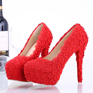 Fairy2019 Crystal Red Summer Lace Shoe Wedding Dress Fine With Woman Small Code Single Shoes