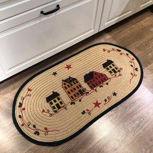 tappeti fatti a mano carattere pastorale di tessitura di lino Area Rugs la casa Tappeti decorativi per la casa soggiorno alfombras de Bano rojas