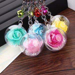 Neue Charme Mode Rose Flower Metal Glocke Schlüsselanhänger Blume Schlüsselanhänger Frauen Schlüsselbund weiblichen Beutel Anhänger Schmuck Mädchen Geschenk Schönheit Zubehör