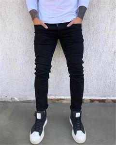 Piedi Jeans Moda Nero metà di vita Zip Maschio Designer Solid casuali dimagriscono jeans di colore degli uomini