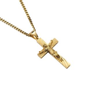 Нержавеющая Сталь Иисус Крест Кулон Ожерелье Мужчины Христианские Старинные Крест Распятие Иисус Кусок Ожерелье Золотой Цвет